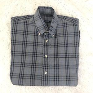 Burberry London Gray plaid button down shirt